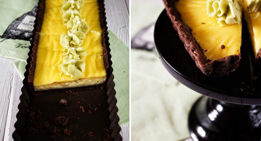 Vanille-Pudding-Tarte mit Schokoboden