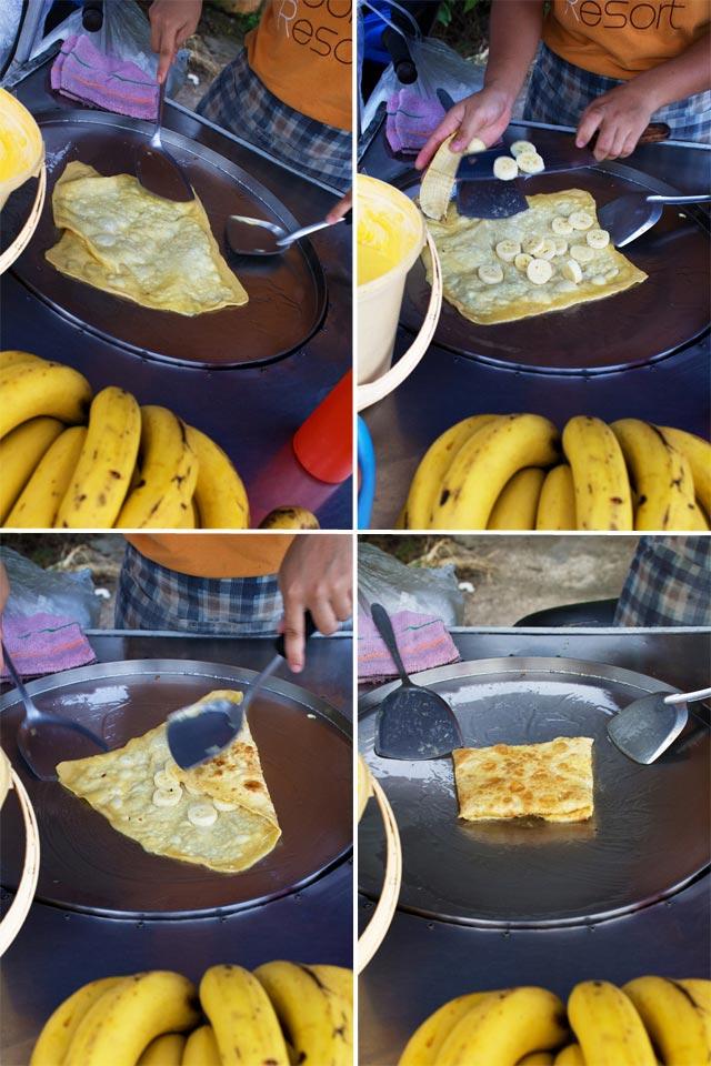 Roti Pancakes werden in Fett ausgebacken