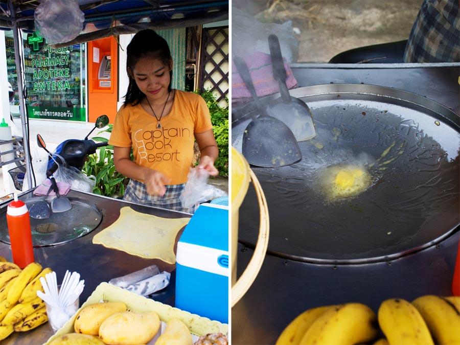 Während die Thai das Fett heiß werden lässt wartet der Teig