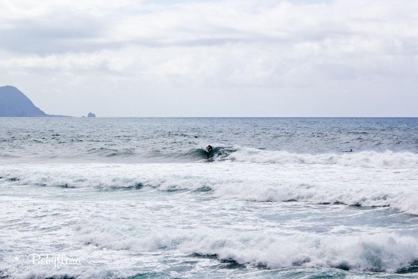 Die Wellen lassen das Surfen in Sao Vincente zu