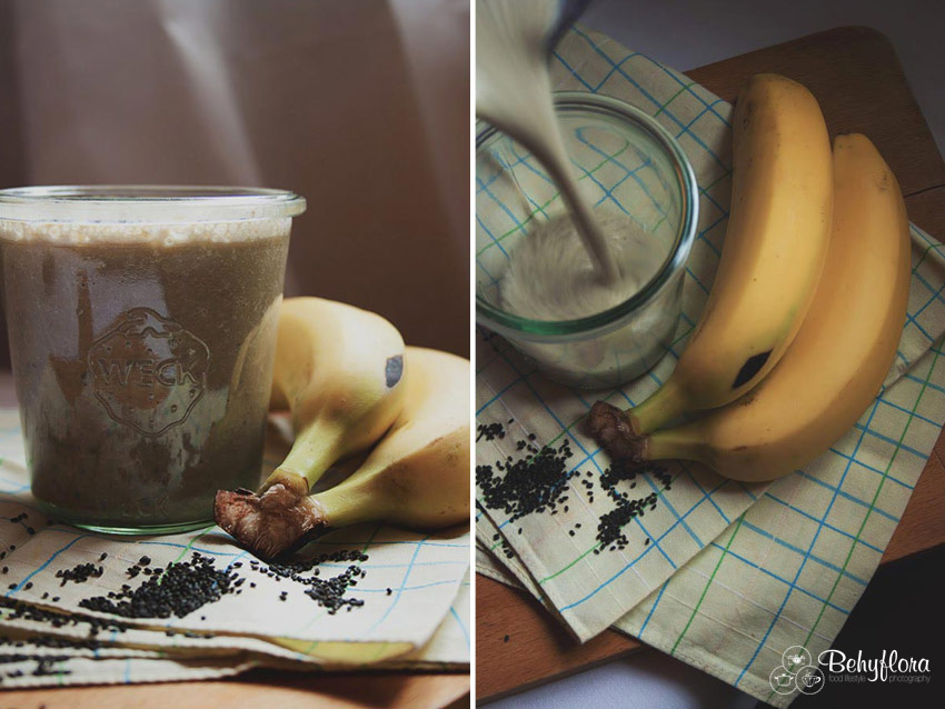 Basilikumsamen im Matcha Bananen Smoothie