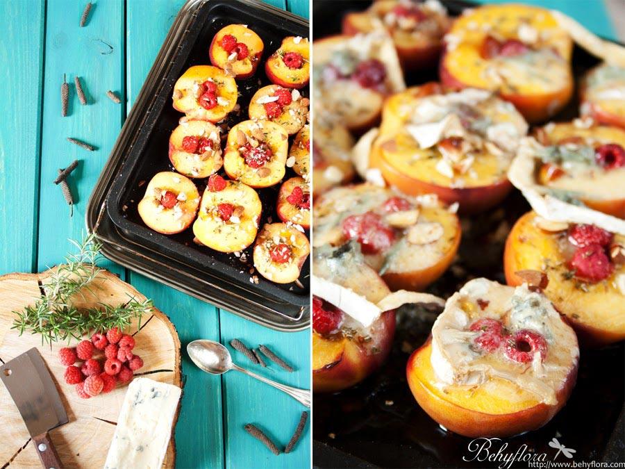 fruchtig-cremig gegrillte Pfirsiche mit Käse