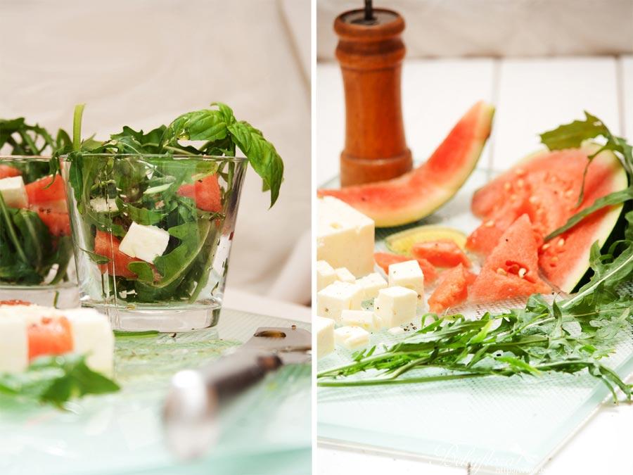 Wassermelone, Feta, Rucola