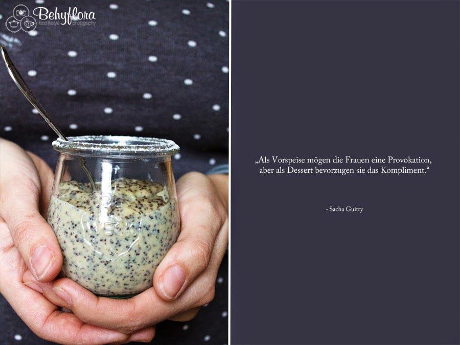 Zitat und Rezept für Mohn Marzipan Pudding