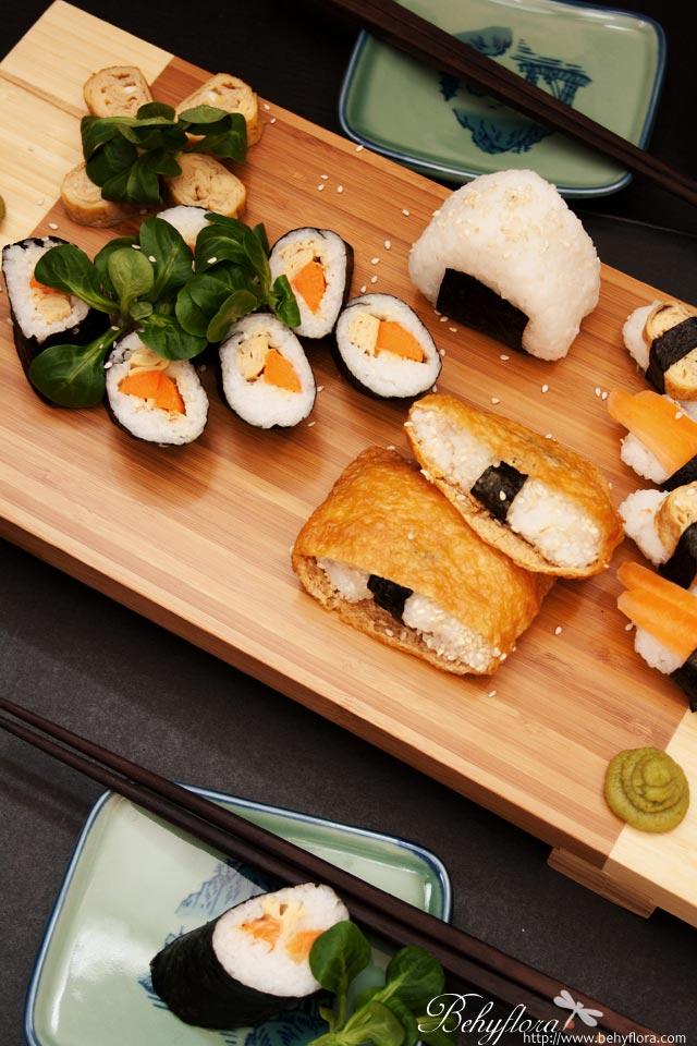 vegetarisches Sushi mit Tofu und Eierstich
