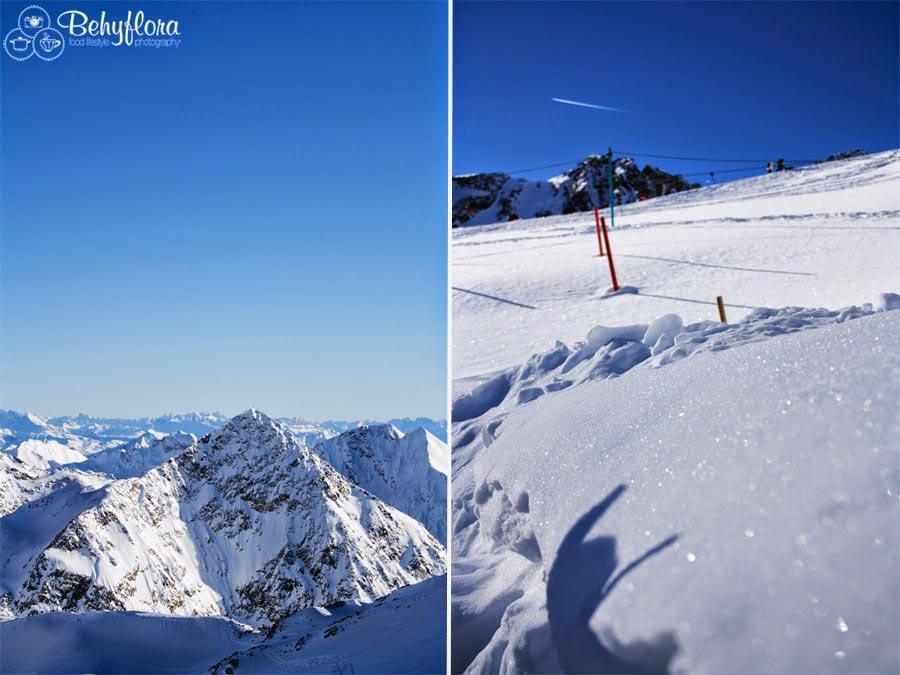 Schnee in den Bergen von Österreich