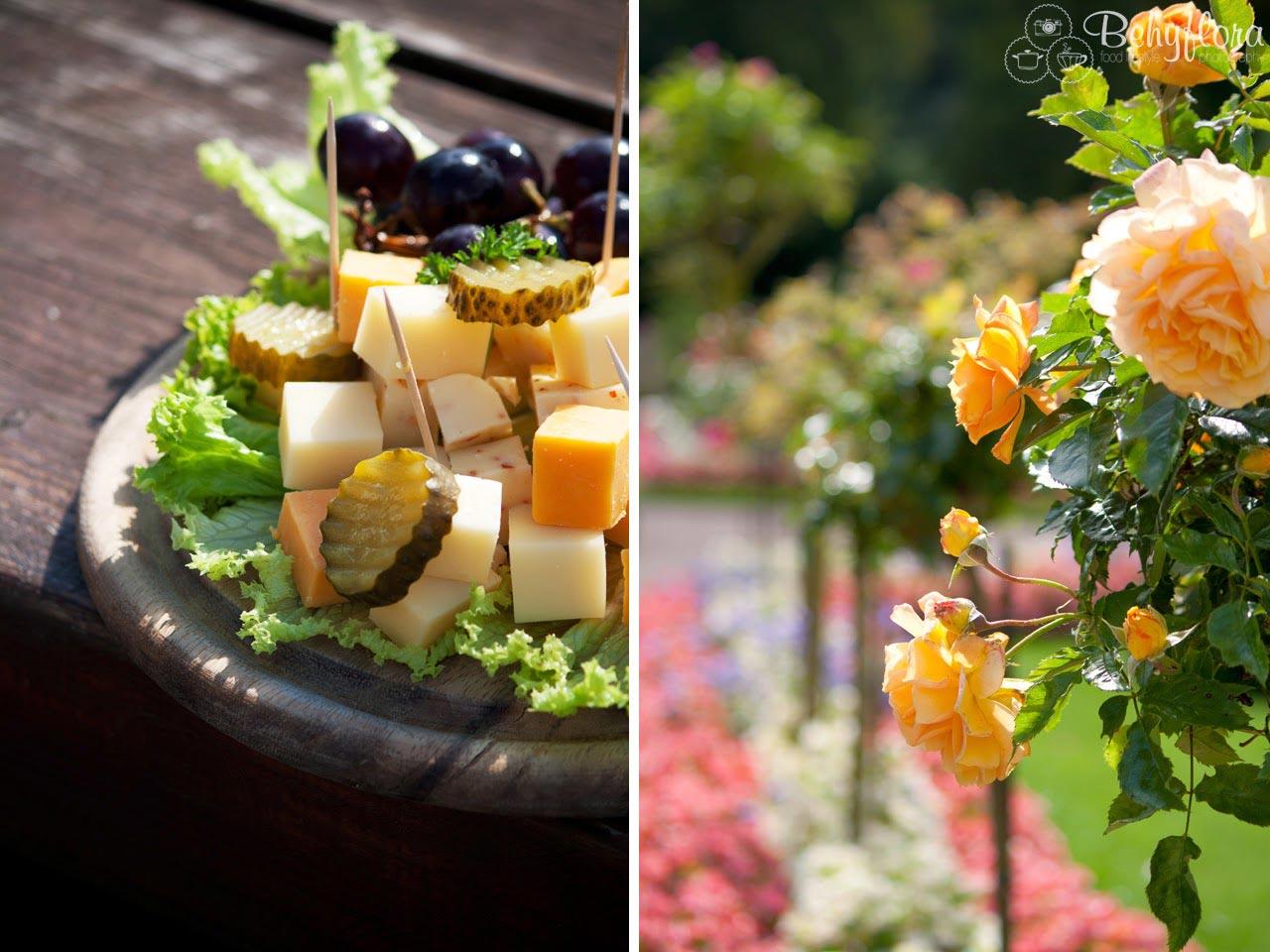 Rosengarten und Käseplatte