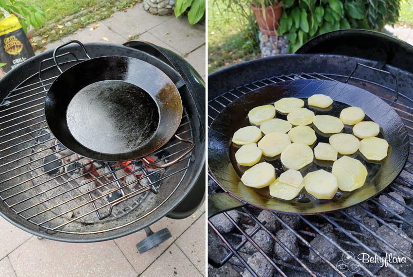 Eisenpfanne einbrennen auf dem Grill