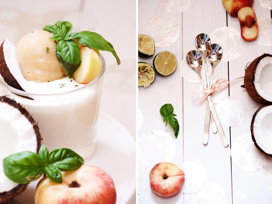 Dessert Pfirsich-Basilikum-Sorbet mit Kokos-Joghurt-Creme
