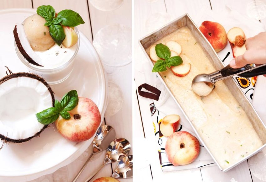 Pfirsich-Basilikum-Sorbet mit Kokos-Joghurt-Creme