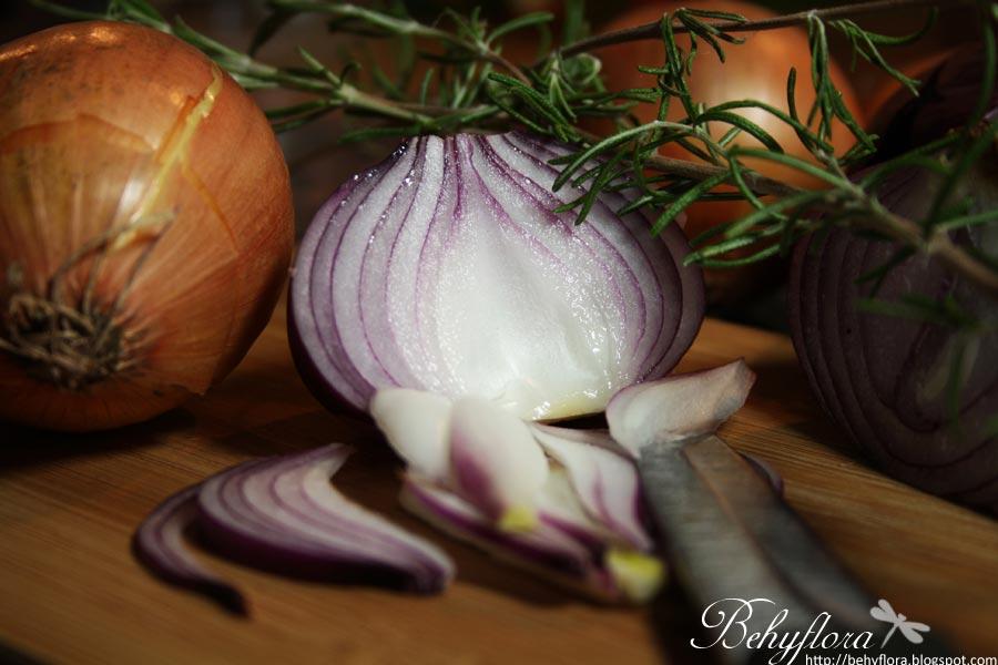 Rote Zwiebel für französische Zwiebelsuppe