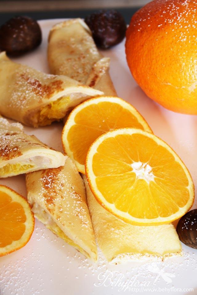 gerollte Pfannkuchen mit Maroni-Creme